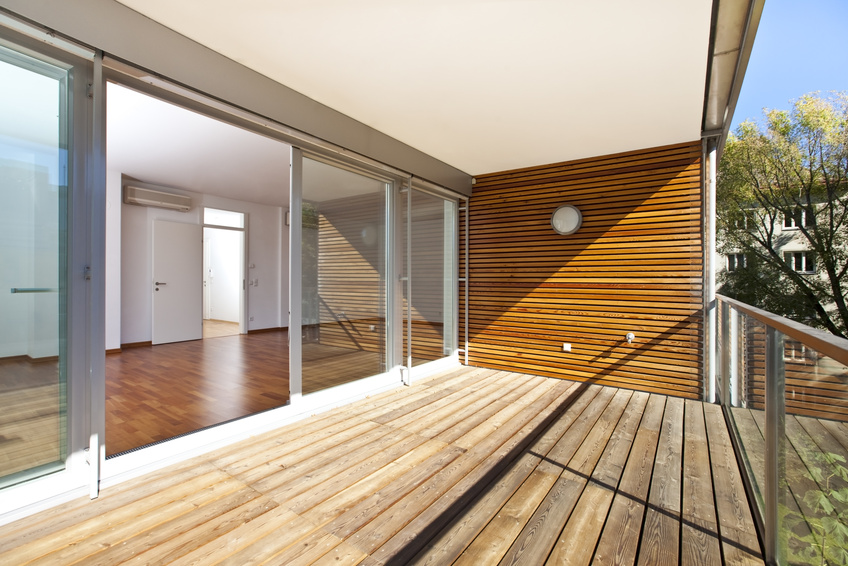 sunlit balcony of contemporary architecture
