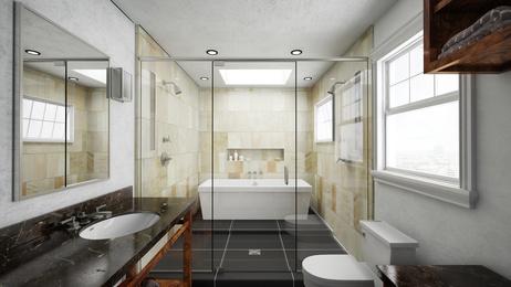 Bad mit Fliesen aus Terrakotta um Dusche und Badewanne